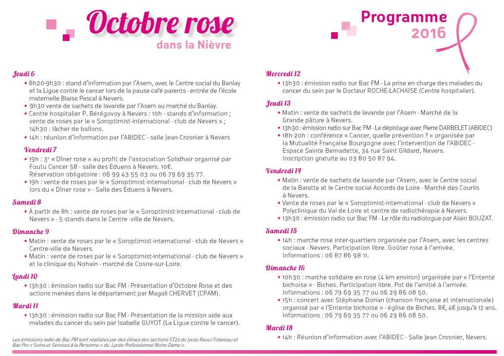 Programme Octobre Rose 2016