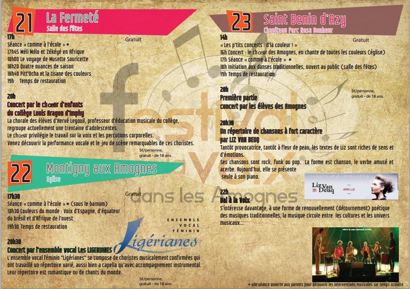 Programme festival de voix dans les amognes