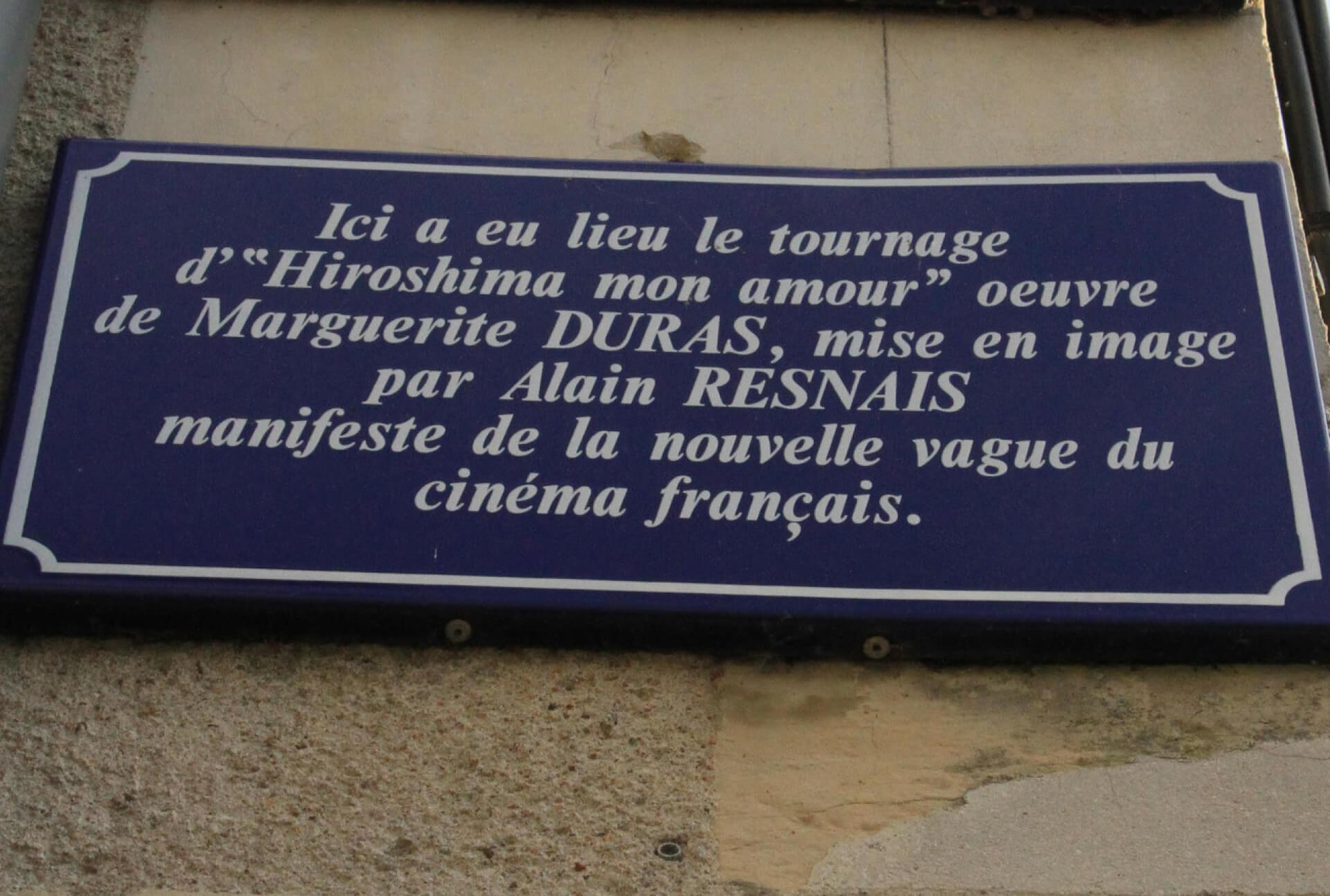 Plaque commémorative  du tournage du film d'Alain Resnais